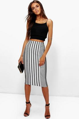 Nimah Striped Midi Skirt