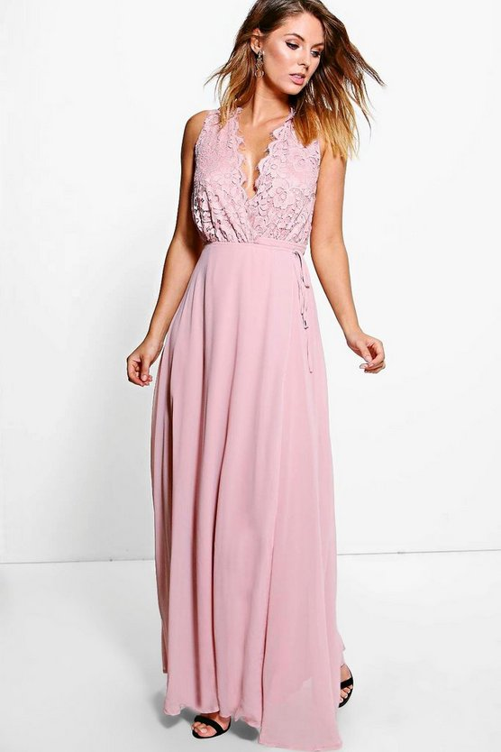 Boutique Lana Lace Scallop Top Maxi Dress