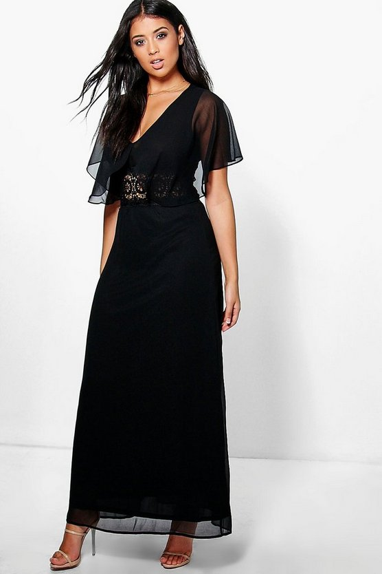 Amada Angel Sleeve Lace Insert Maxi Dress
