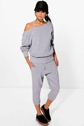 Boutique Ava Slash Neck Knitted Loungewear Set