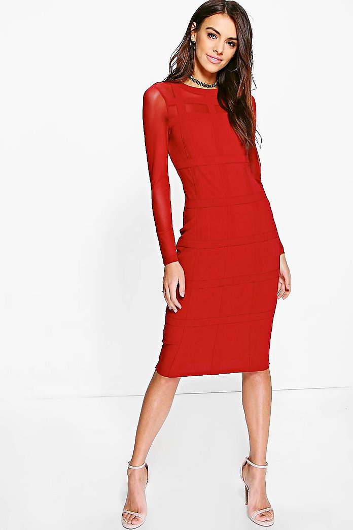 Boutique Gia Grid Mesh Bodycon Midi Dress