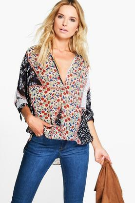 Katie Mixed Print Wrapover Blouse
