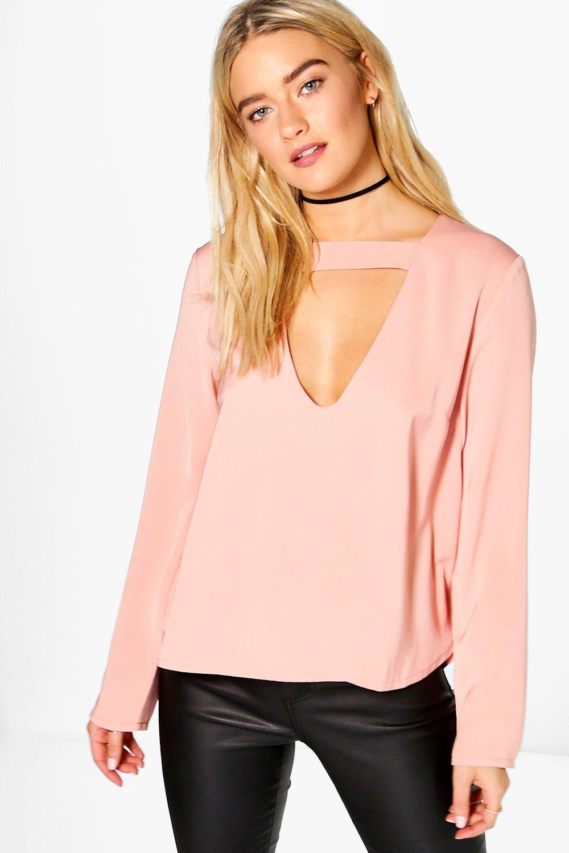 cara open neck detail blouse | boohoo