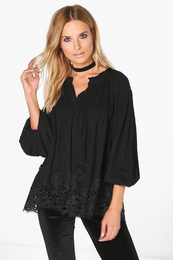 Dora Crochet Trim Smock Shirt