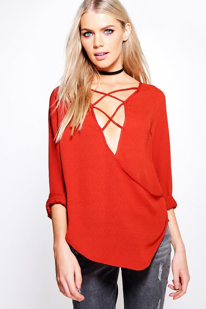 Evie Lace Up Wrap Over Blouse