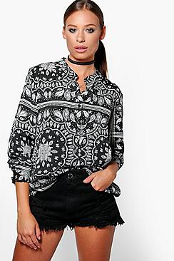 Georgia Silky Paisley Collarless Shirt