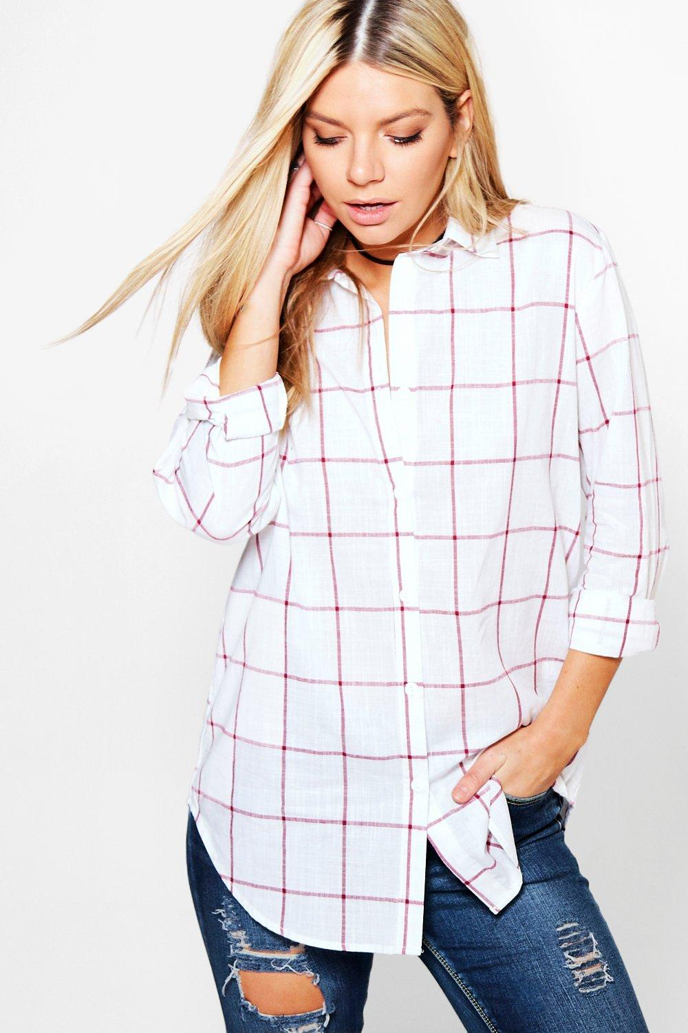 Inga Large Grid Oversized Shirt