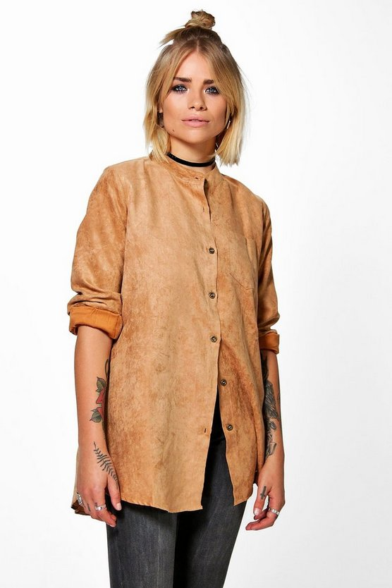 Lucy Suedette Collarless Shirt
