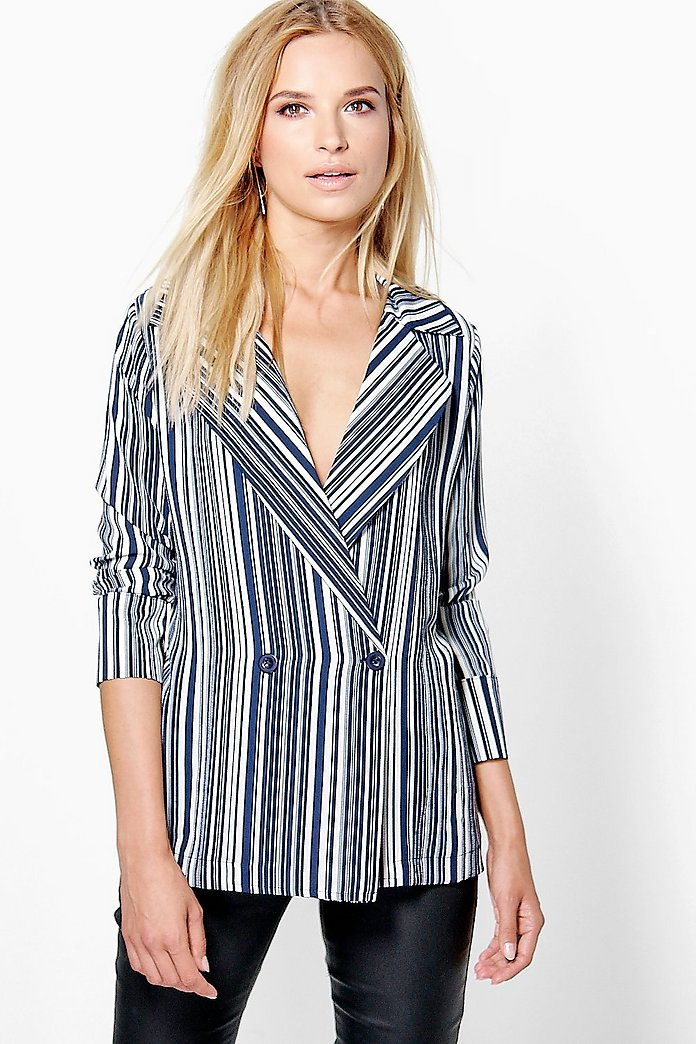 Megan Striped Wrapover Blazer Style Shirt