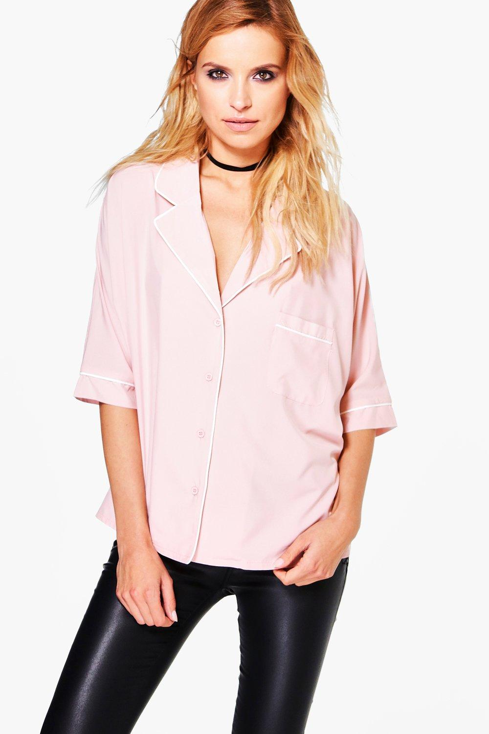 Nina Piped Rever Collar Oversized Shirt