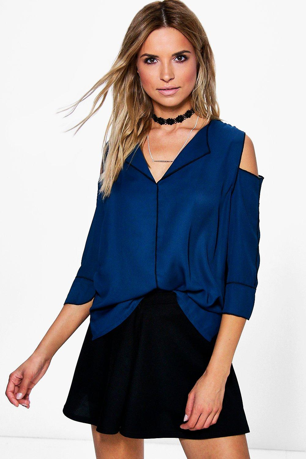 Ona Cold Shoulder Piped Pyjama Blouse