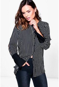 Polly Striped Split Sleeve Cuff Detail Shirt