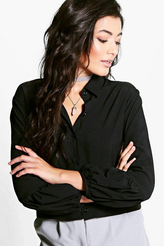 Liz Pleat Sleeve Boxy Shirt