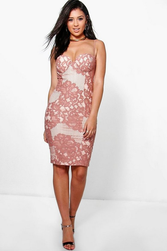 Boutique Kyra Lace Bustier Detail Midi Dress