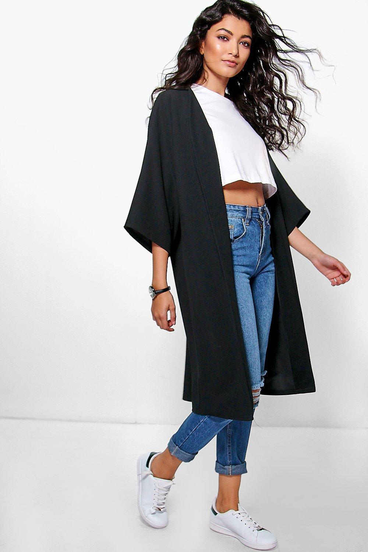 Kimono Sleeve Collarless Duster black