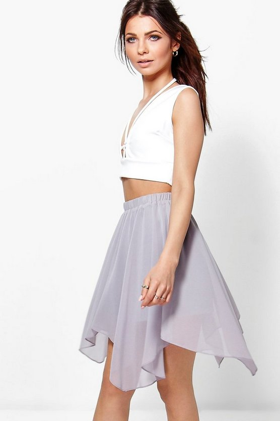 Neve Chiffon High Low Hem Mini Skirt