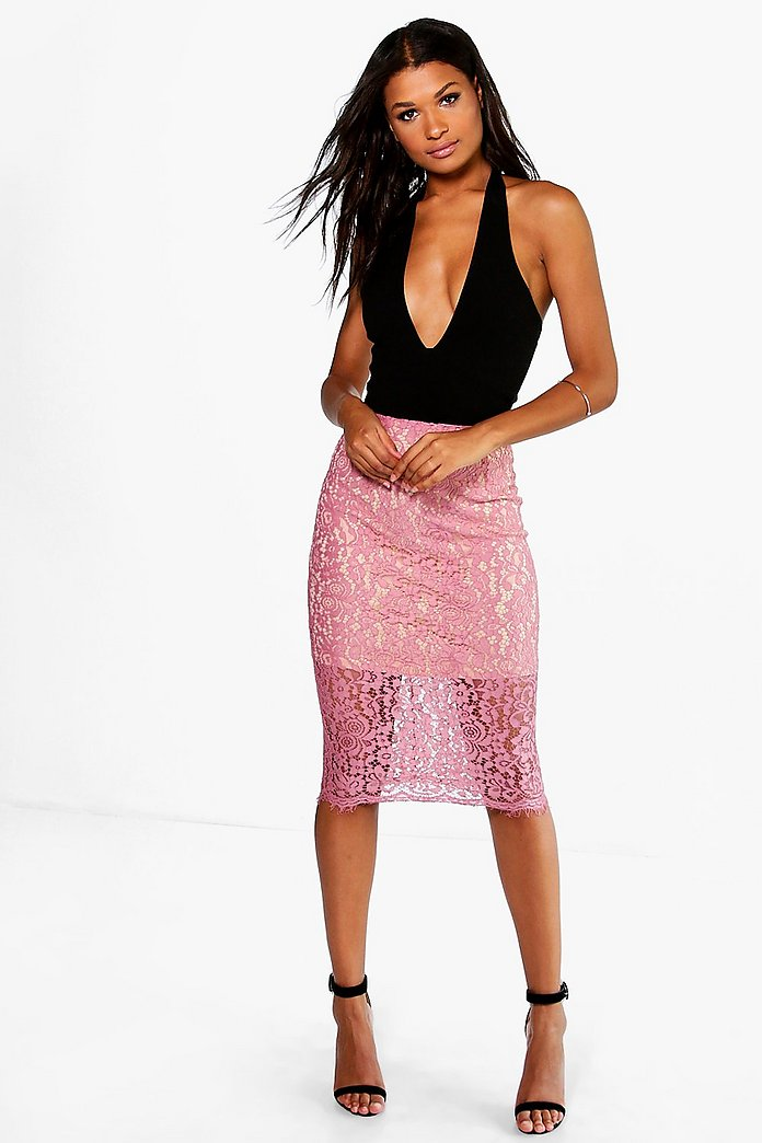 Nara Contrast Lace Bodycon Midi Skirt