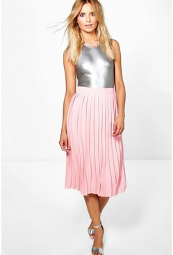 Aura Pleated Chiffon Midi Skirt