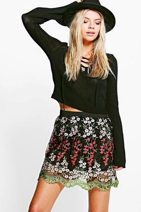 Boutique Napa Embroidered A Line Skirt