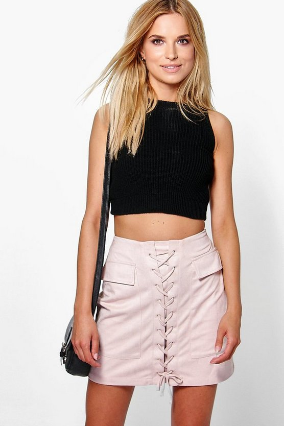 Nicia Suedette Pocket Side Lace Up Mini Skirt