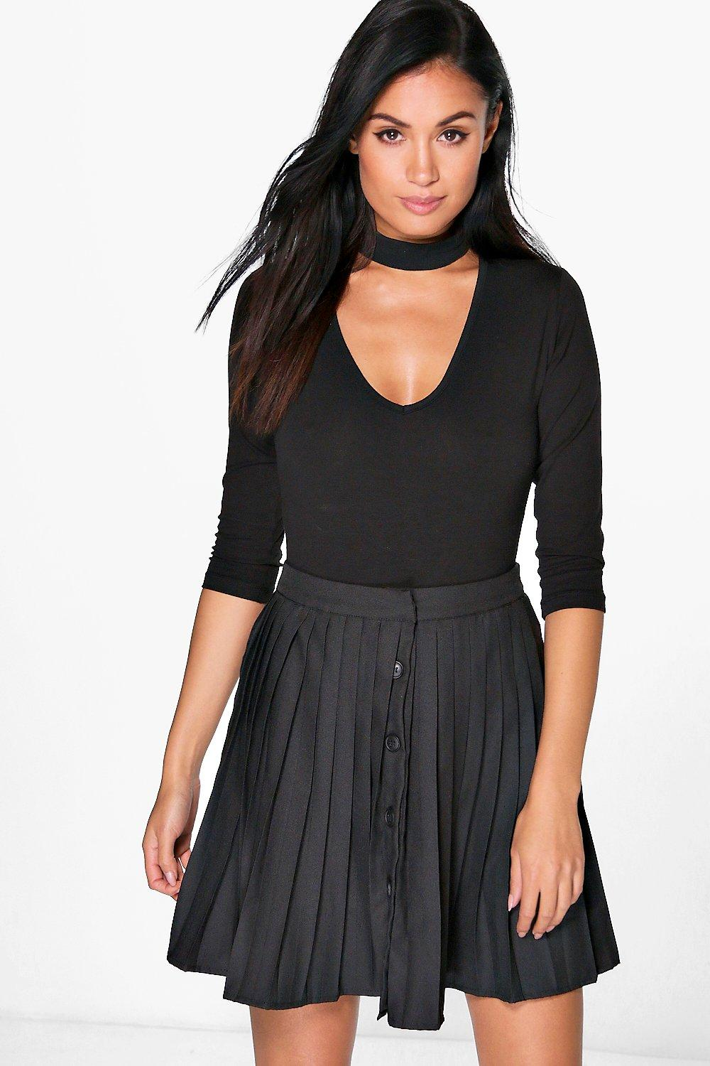 Nila Button Front Pleated Mini Skirt