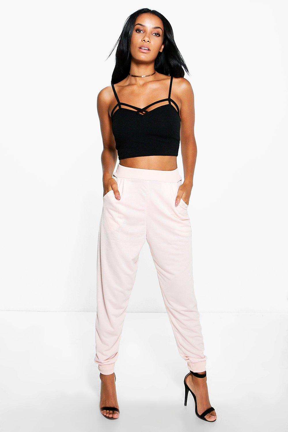 Ribbed Waistband Relaxed Joggers nude
