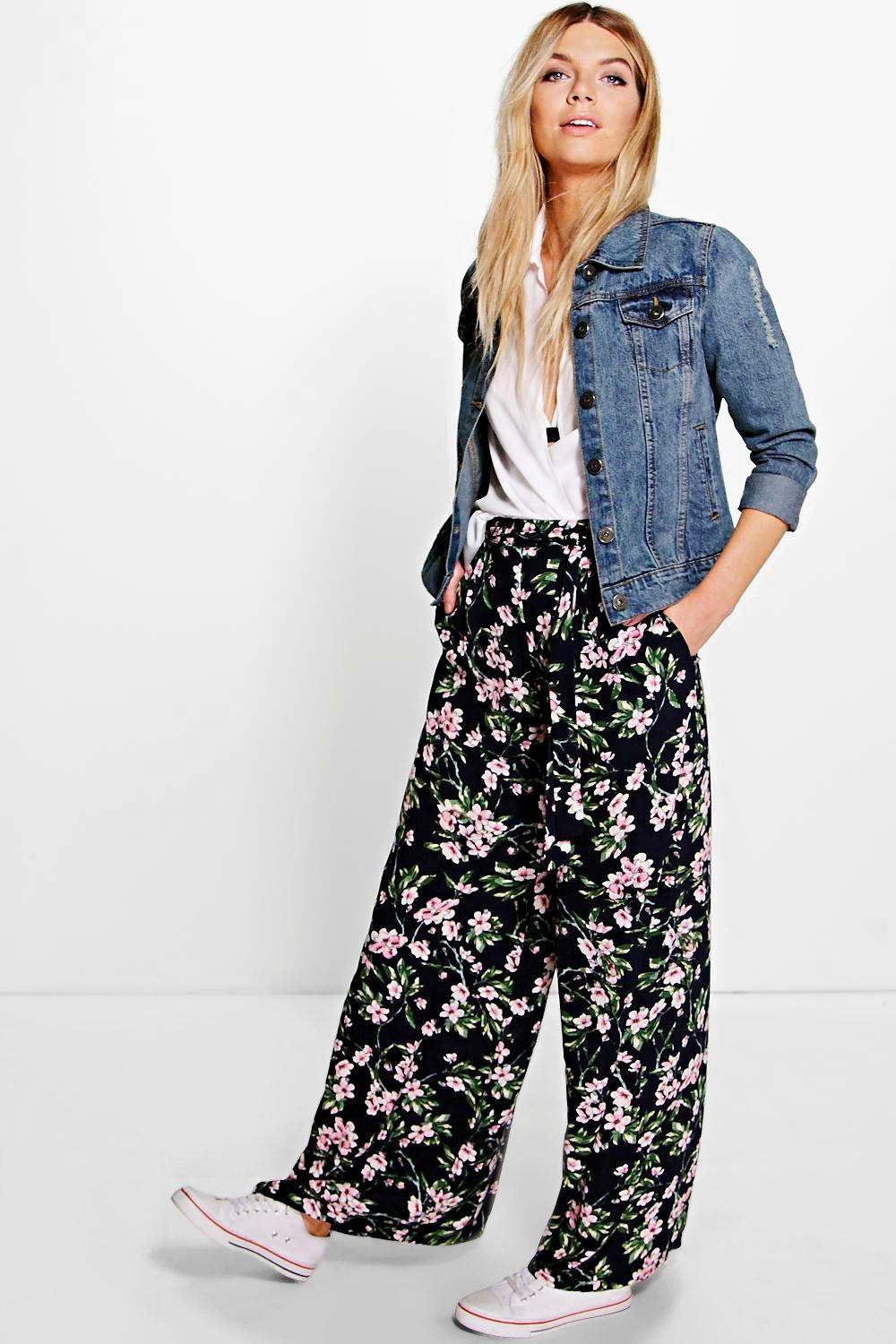 Belted Floral Wide Leg Trousers multi