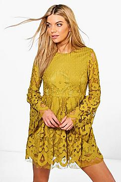 Boutique Fi Lace Bell Sleeve Fit & Flare Dress