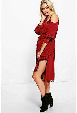 Katy Cold Shoulder Twist Front Midi Shirt Dress
