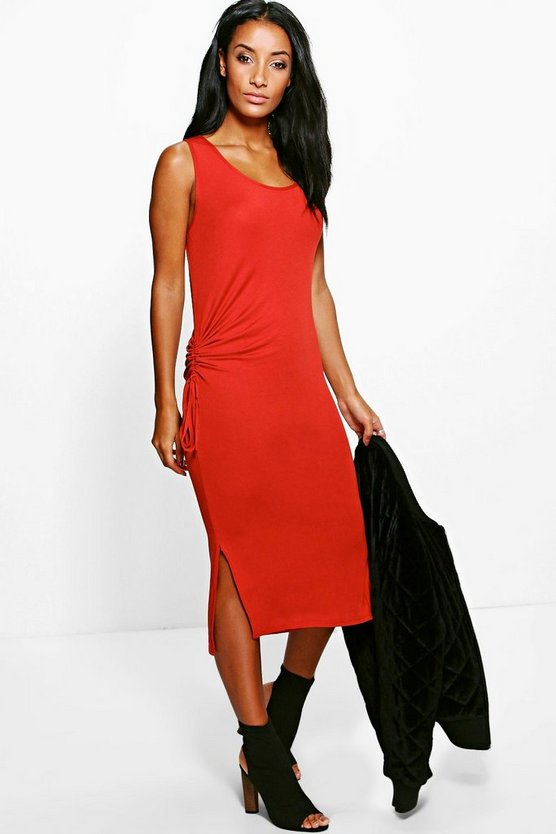 Madeleine Rouched Side Split Midi Dress