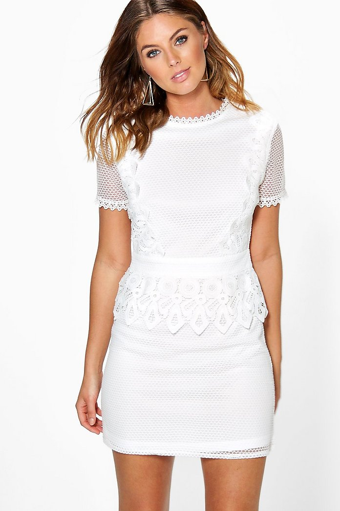 Boutique Cait Crochet Lace Peplum Shift Dress