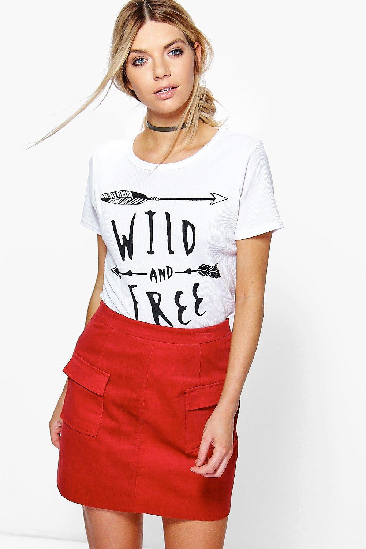 Pocket Front Cord Mini Skirt rust
