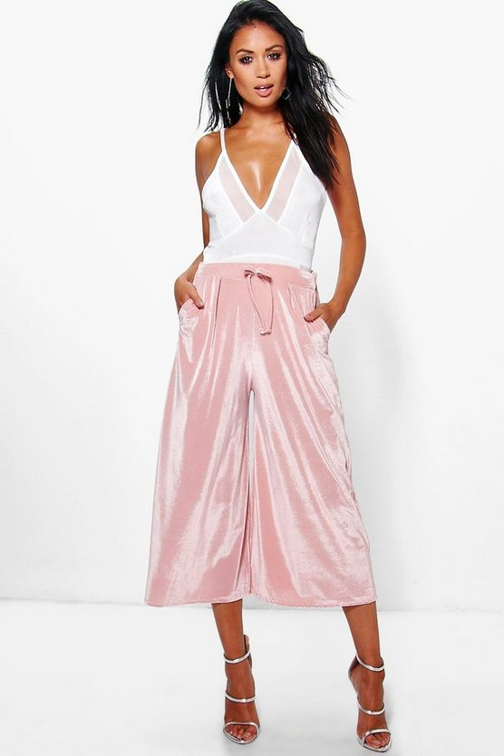 Ansa Velvet Ribbed Wide Leg Cropped Trousers