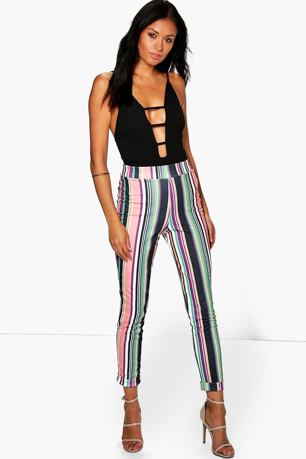 Neala Striped Crepe Skinny Trousers