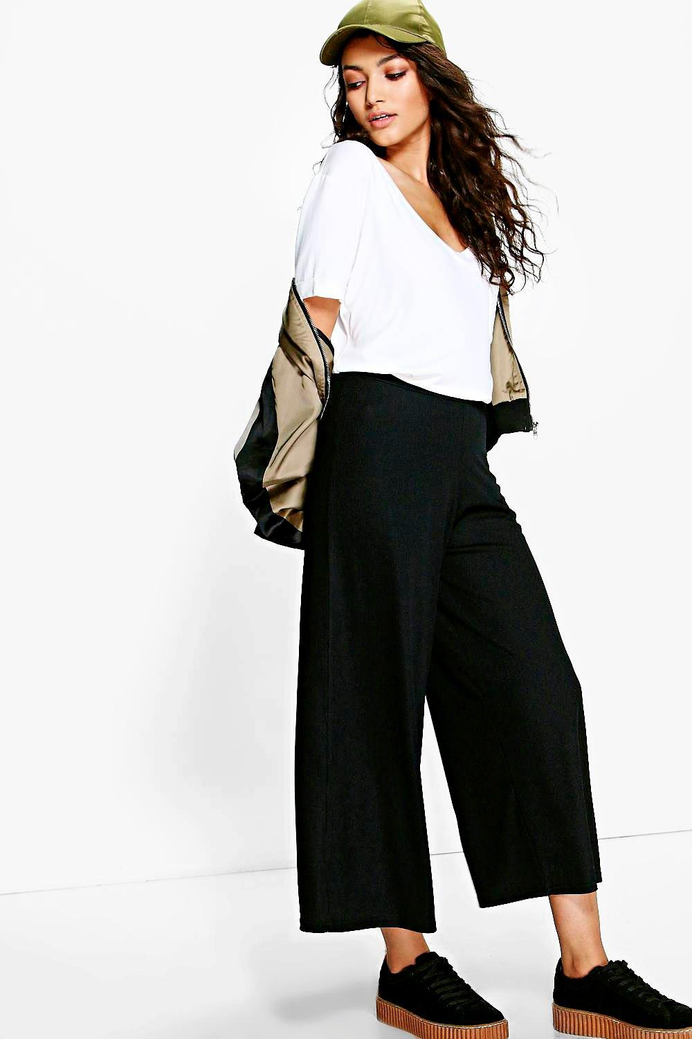 Ribbed Wide Leg Cropped Trousers black
