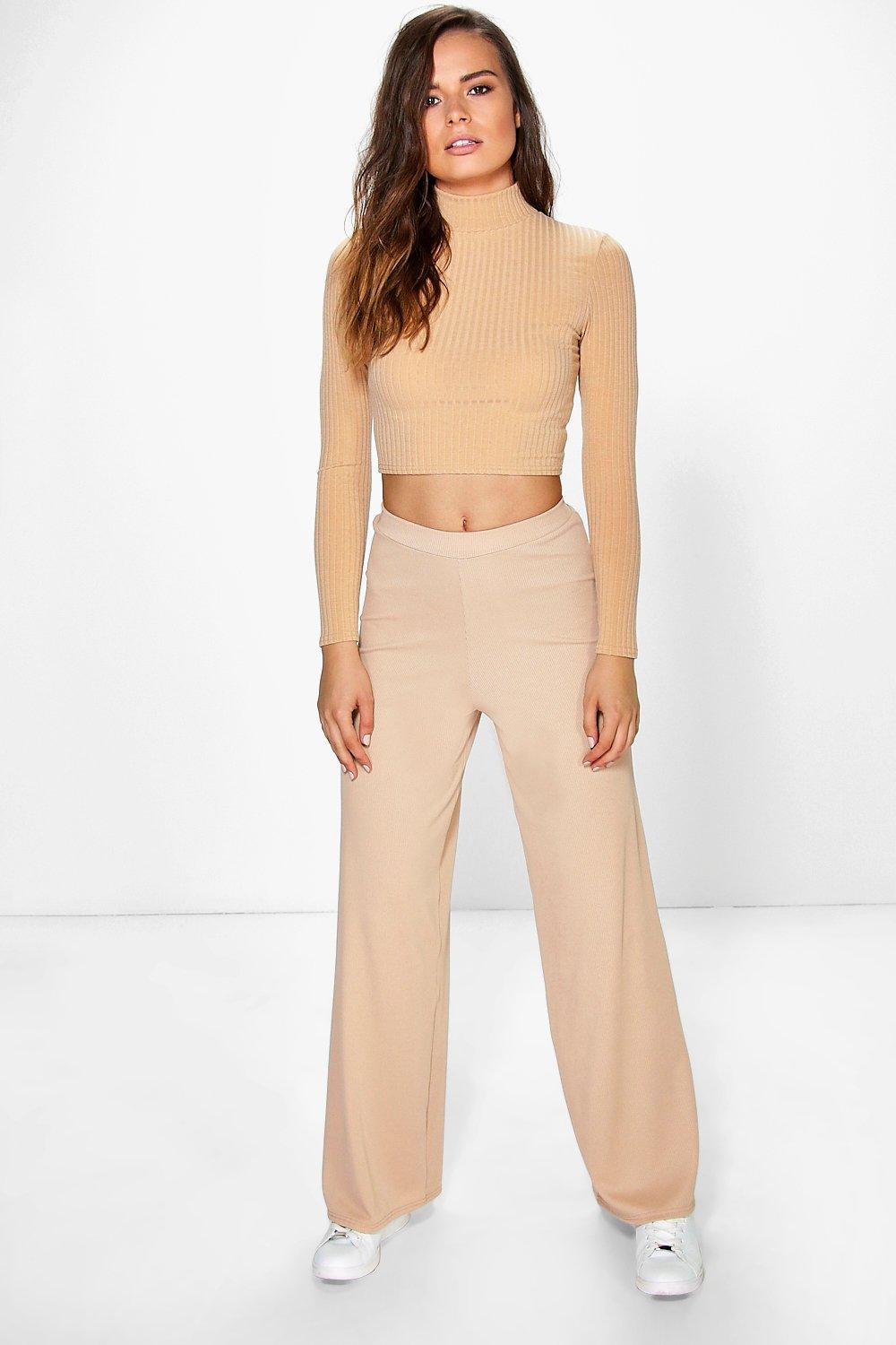 Darcey Ribbed Wide Leg Trousers