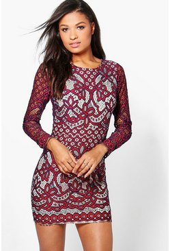 Boutique Bria Lace Open Back Bodycon Dress