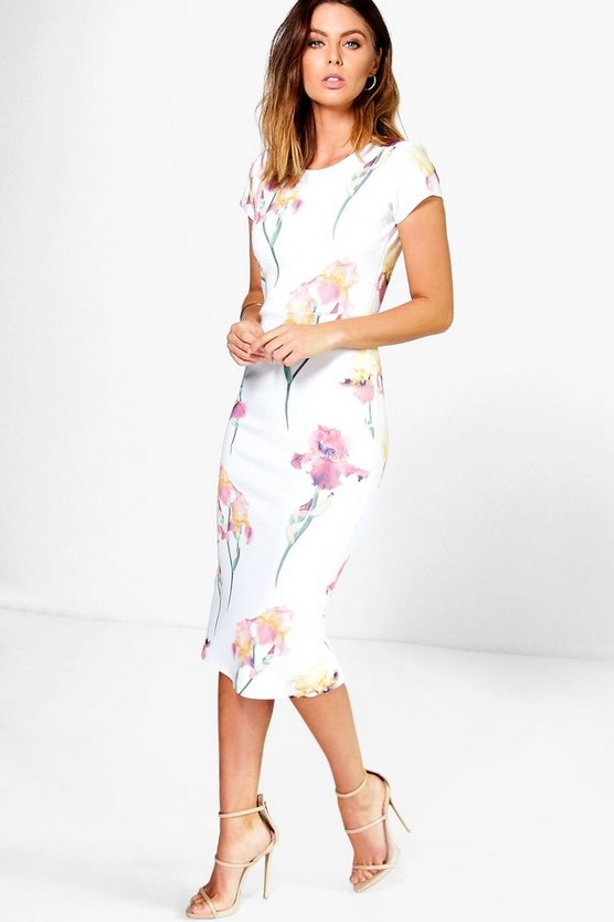 Rita Floral Cap Sleeve Midi Dress