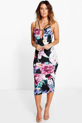 Nora Floral Strappy Detail Midi Dress