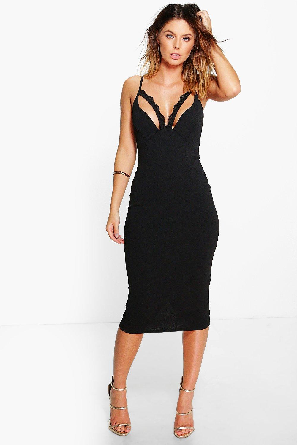 Faye Lace Trim Bust Midi Dress