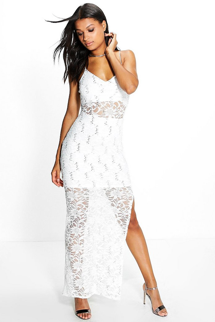 Lola Sequin Lace Maxi Dress