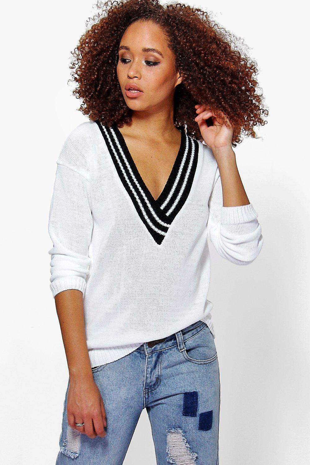 Nicole V Neck Sports Rib Jumper