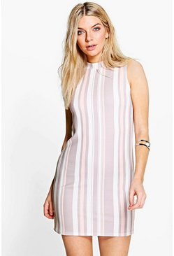 Dani High Neck Sleeveless Stripe Shift Dress