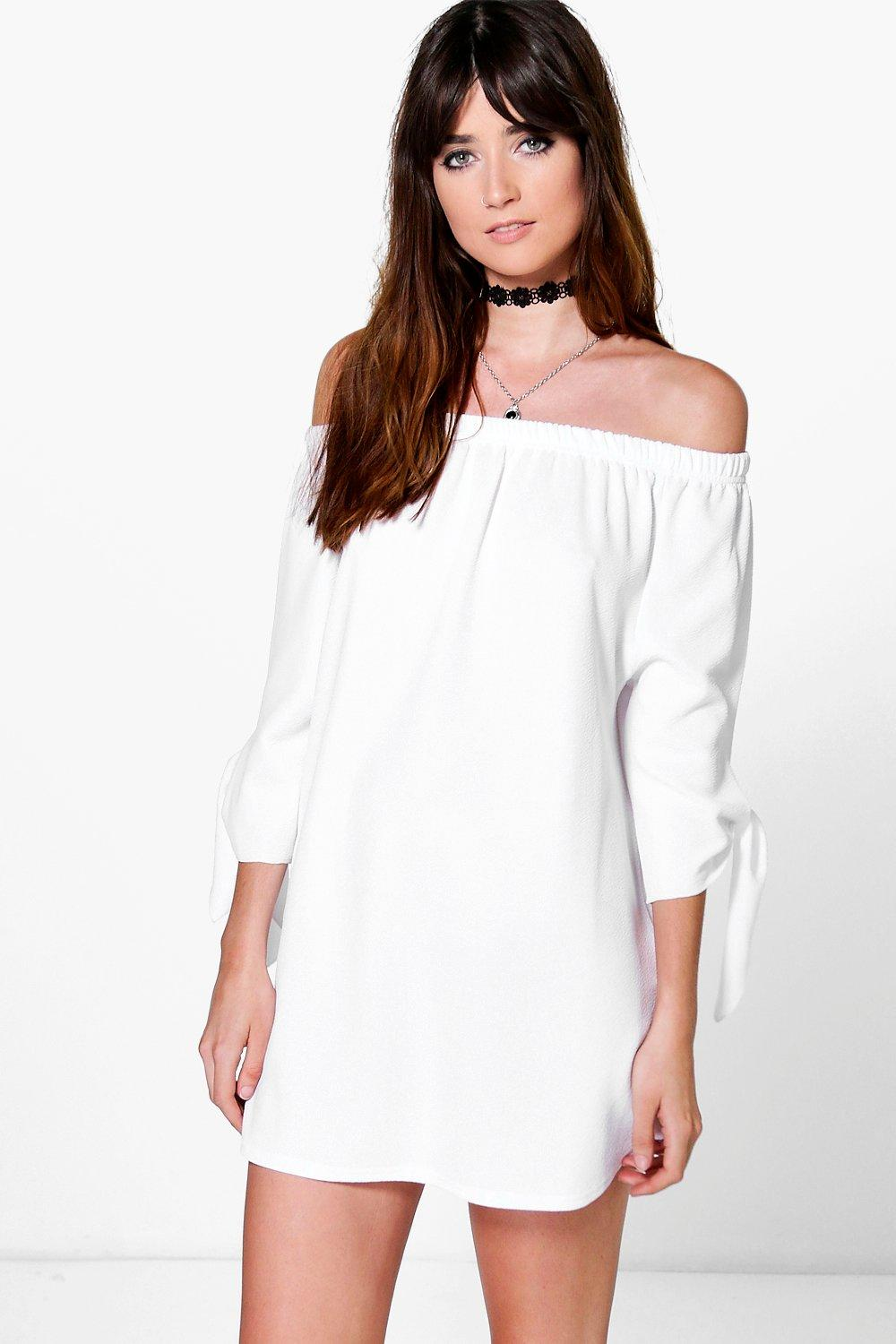 Beth Off The Shoulder Tie Sleeve Shift Dress