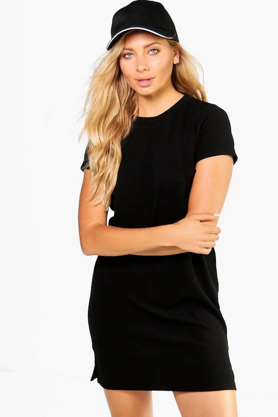 Katey Crepe Pocket Side Split Shift Dress