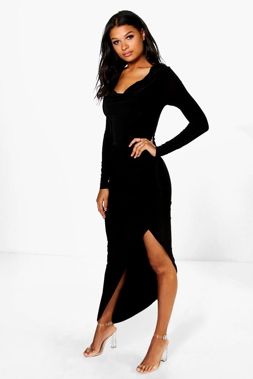 Lexi Cowl Neck Slinky Maxi Dress