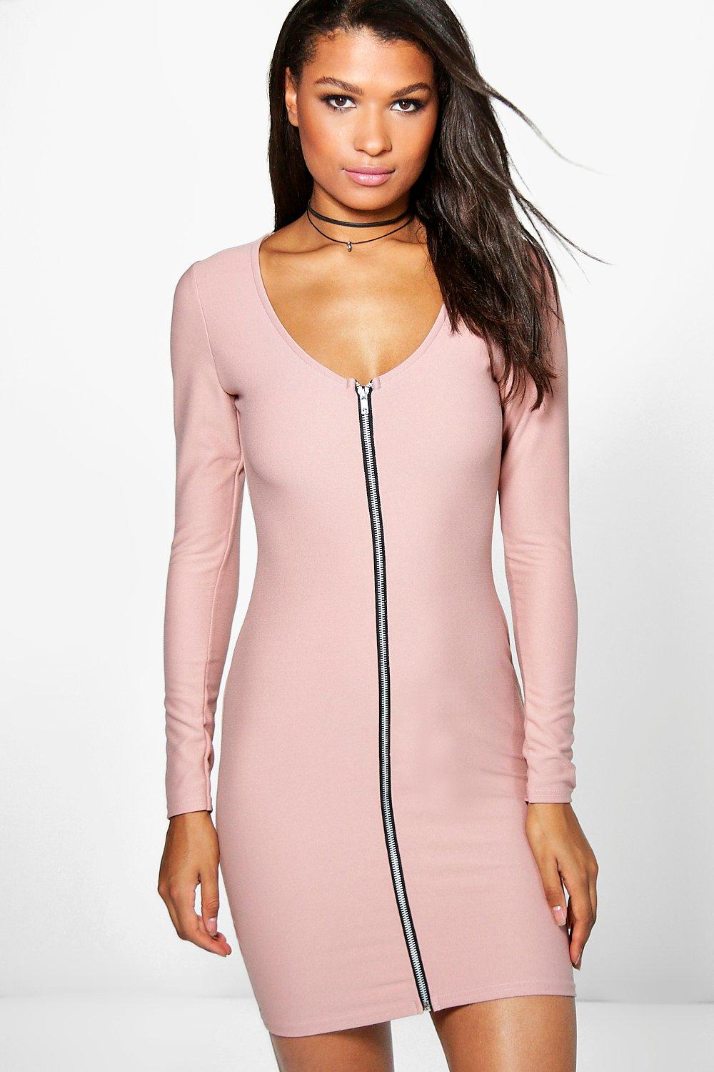 Roxy Long Sleeve Zip Through Bodycon Dress