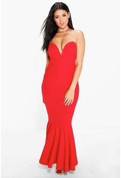 Laura Plunge Bandeau Fish Tail Maxi Dress