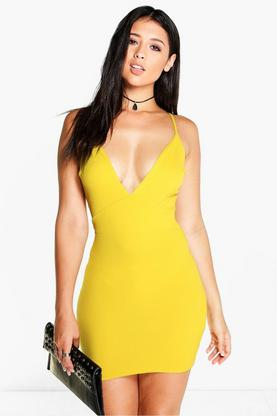Cara Strappy Plunge Neck Bodycon Dress