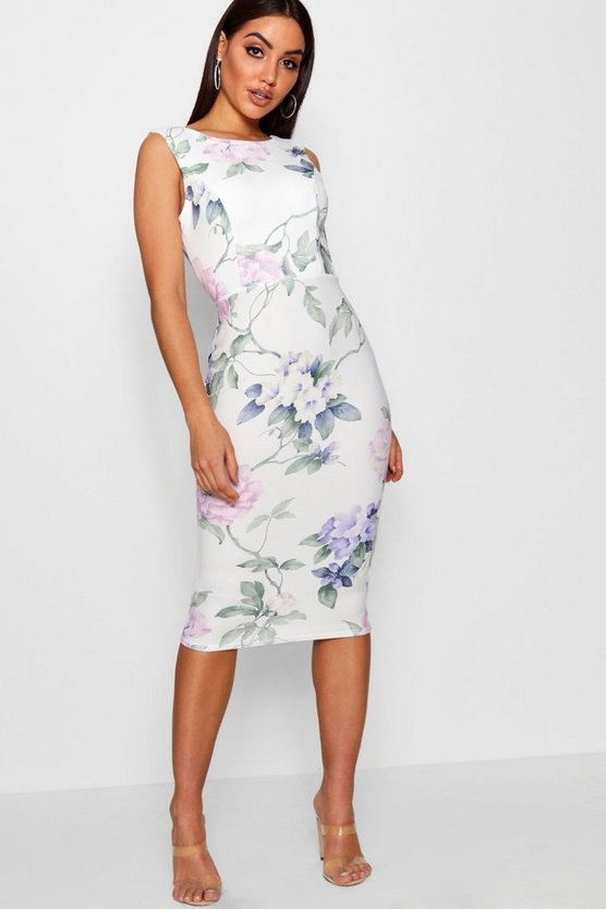 Floral Open Back Detail Midi Dress